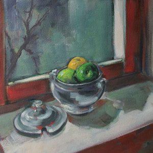 carlos-pardo-bodegones-24-Bodegón-ventana-roja-con-manzanas-60x71