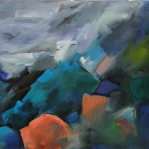 carlos-pardo-ficaria-11-paisaje-azul-cyan-dos-manchas-rosas-100x81