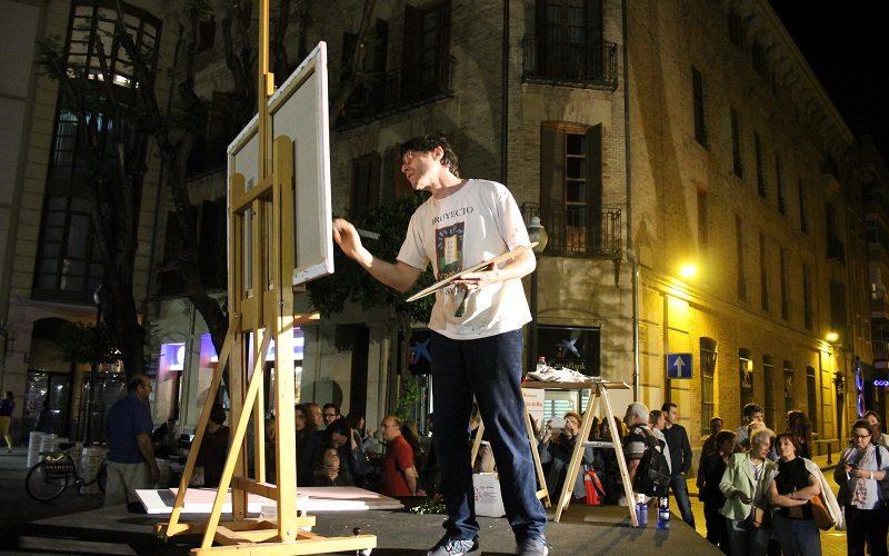 Pintando en vivo en la Noche de Los Museos